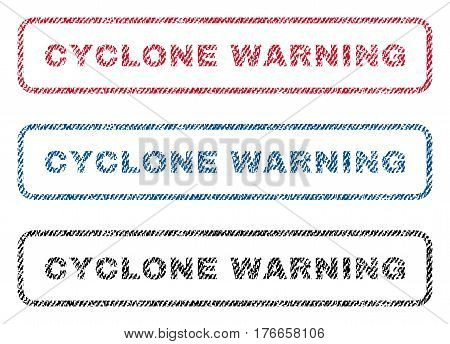 Cyclone Warning text textile seal stamp watermarks. Blue, red, black fabric vectorized texture. Vector caption inside rounded rectangular shape. Rubber sign with fiber textile structure.