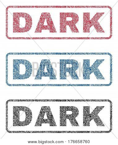 Dark text textile seal stamp watermarks. Blue, red, black fabric vectorized texture. Vector caption inside rounded rectangular banner. Rubber sign with fiber textile structure.