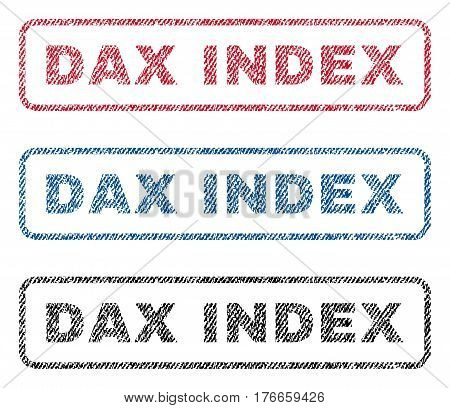 Dax Index text textile seal stamp watermarks. Blue, red, black fabric vectorized texture. Vector caption inside rounded rectangular shape. Rubber sticker with fiber textile structure.