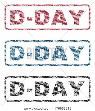 D-Day text textile seal stamp watermarks. Blue, red, black fabric vectorized texture. Vector caption inside rounded rectangular shape. Rubber sign with fiber textile structure.
