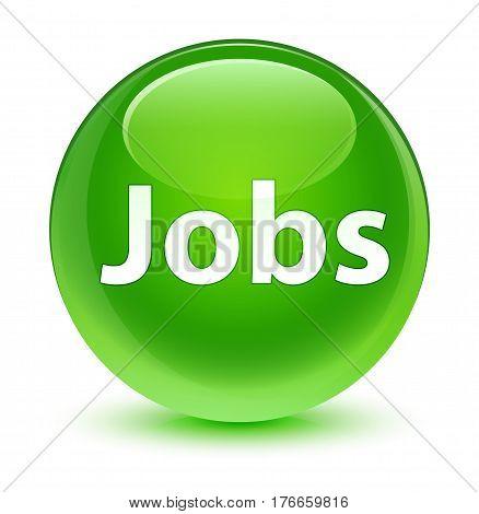 Jobs Glassy Green Round Button