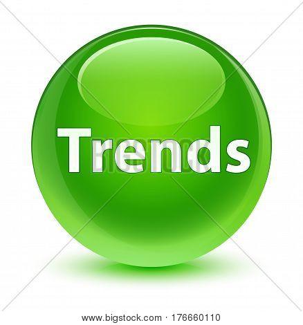 Trends Glassy Green Round Button