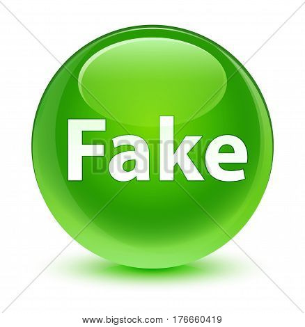 Fake Glassy Green Round Button
