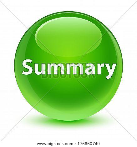 Summary Glassy Green Round Button