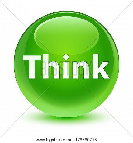 Think Glassy Green Round Button
