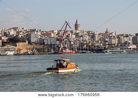 View of the Galata Tower from the Golden Horn of Istanbul