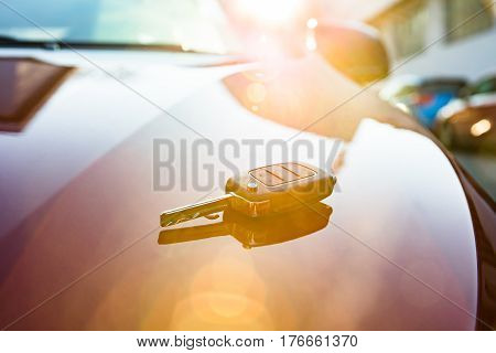 Close-up Of A Car Key Placed On New Car