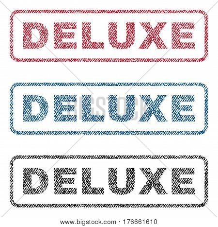 Deluxe text textile seal stamp watermarks. Blue, red, black fabric vectorized texture. Vector caption inside rounded rectangular shape. Rubber sign with fiber textile structure.