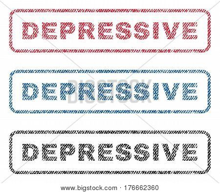 Depressive text textile seal stamp watermarks. Blue, red, black fabric vectorized texture. Vector caption inside rounded rectangular banner. Rubber sticker with fiber textile structure.