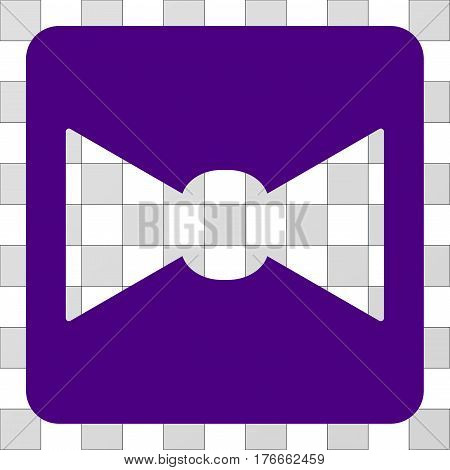 Bow Tie square icon. Vector pictogram style is a flat symbol hole inside a rounded square shape, indigo blue color.