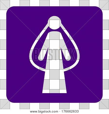 Bride rounded icon. Vector pictograph style is a flat symbol perforation on a rounded square shape, indigo blue color.