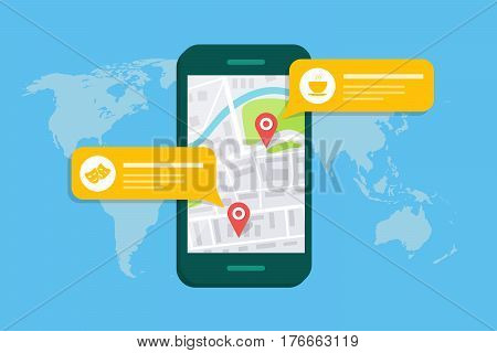 Concept of a mobile map or navigator. Pop-up dialog box with object description on the map