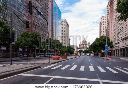 Rio de Janeiro, Brazil - March 4, 2017: Presidente Vargas avenue in the city center is one of the most important streets of Rio de Janeiro.