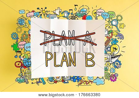 Plan B Text With Colorful Illustrations