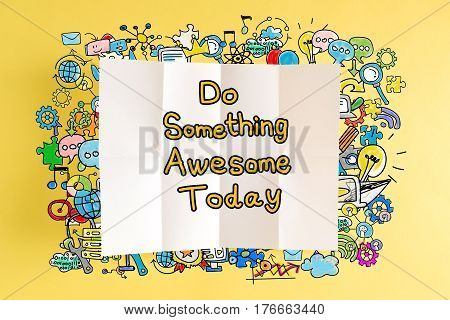 Do Something Awsome Today Text With Colorful Illustrations
