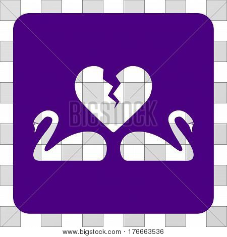 Divorce Swans interface toolbar icon. Vector pictograph style is a flat symbol perforation on a rounded square shape, indigo blue color.