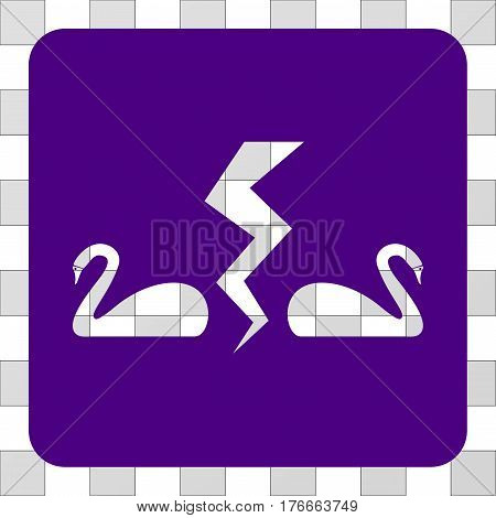 Divorce Swans square icon. Vector pictogram style is a flat symbol hole in a rounded square shape, indigo blue color.
