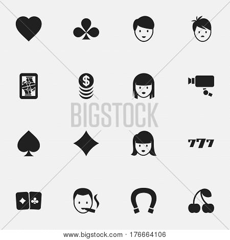 Set Of 16 Editable Excitement Icons. Includes Symbols Such As Luck Charm, Tracking Cam, Love And More. Can Be Used For Web, Mobile, UI And Infographic Design.