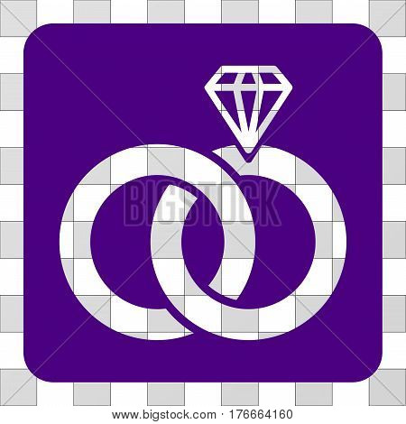 Jewelry Wedding Rings square icon. Vector pictogram style is a flat symbol perforation in a rounded square shape, indigo blue color.