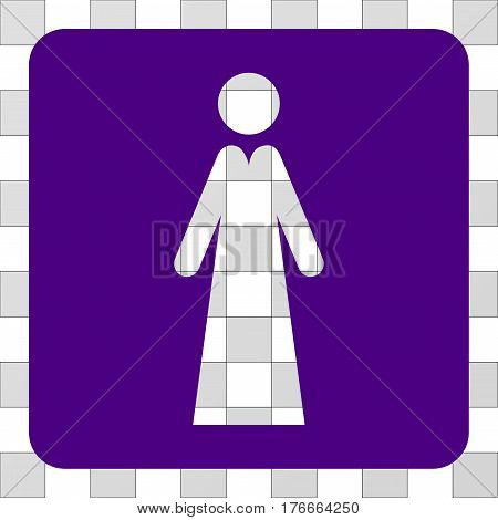 Lady interface icon. Vector pictogram style is a flat symbol hole centered in a rounded square shape, indigo blue color.