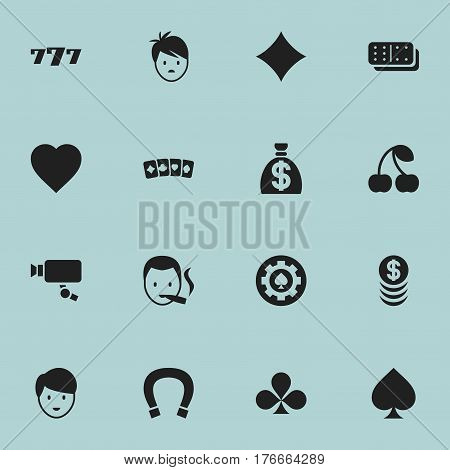 Set Of 16 Editable Excitement Icons. Includes Symbols Such As Smoker, Shamrock, Moneybag And More. Can Be Used For Web, Mobile, UI And Infographic Design.