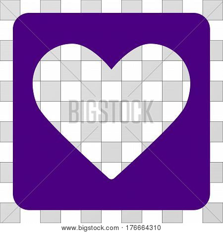 Love Heart square icon. Vector pictograph style is a flat symbol perforation inside a rounded square shape, indigo blue color.