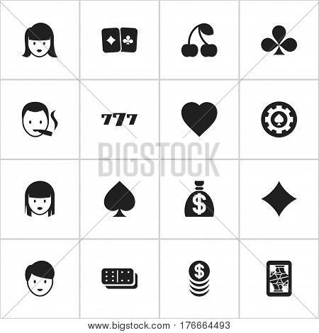 Set Of 16 Editable Business Icons. Includes Symbols Such As Woman Face, Rhombus, Moneybag And More. Can Be Used For Web, Mobile, UI And Infographic Design.