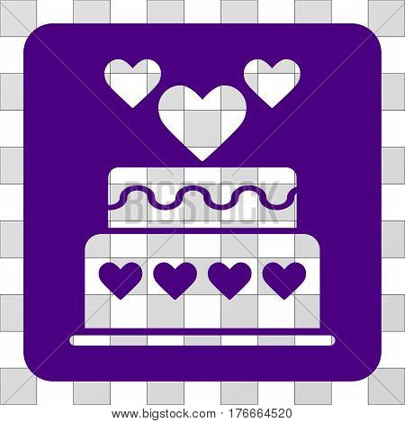 Marriage Cake rounded icon. Vector pictograph style is a flat symbol hole centered in a rounded square shape, indigo blue color.