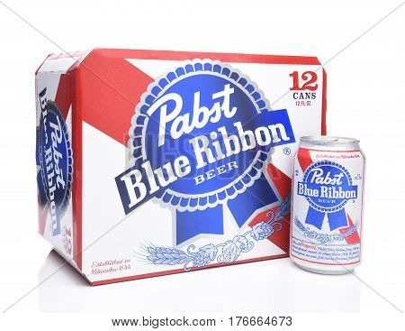 IRVINE CALIFORNIA - MARCH 16 2017: Pabst Blue Ribbon Beer. Twelve pack cans of the American brand introduced in 1884 in Milwaukee currently based in Los Angeles.