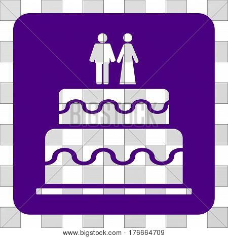 Marriage Cake square icon. Vector pictograph style is a flat symbol perforation inside a rounded square shape, indigo blue color.