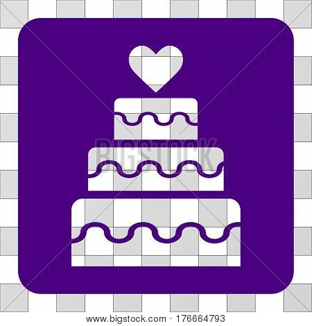 Marriage Cake interface icon. Vector pictogram style is a flat symbol hole in a rounded square shape, indigo blue color.