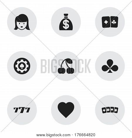 Set Of 9 Editable Excitement Icons. Includes Symbols Such As Moneybag, Card Suits, Lucky Seven And More. Can Be Used For Web, Mobile, UI And Infographic Design.