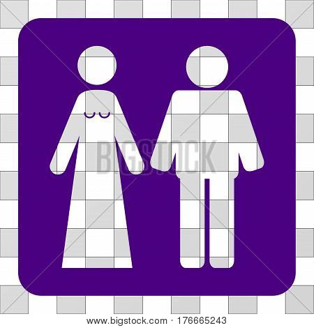 Married Groom And Bribe square icon. Vector pictogram style is a flat symbol hole in a rounded square shape, indigo blue color.