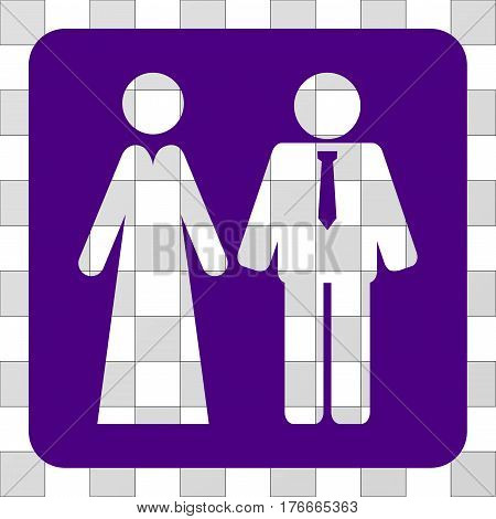 Newlyweds rounded icon. Vector pictograph style is a flat symbol hole in a rounded square shape, indigo blue color.