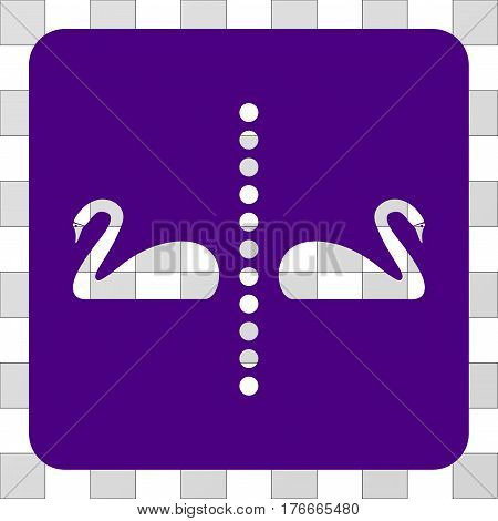 Separate Swans toolbar icon. Vector pictograph style is a flat symbol hole inside a rounded square shape, indigo blue color.