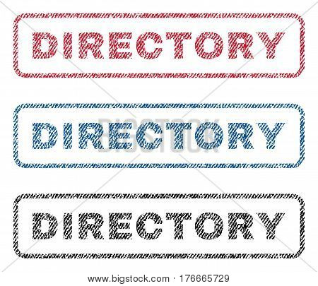 Directory text textile seal stamp watermarks. Blue, red, black fabric vectorized texture. Vector tag inside rounded rectangular banner. Rubber sign with fiber textile structure.