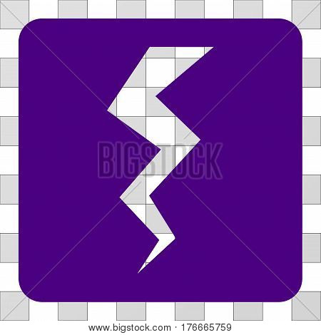 Thunder Crack interface icon. Vector pictograph style is a flat symbol hole on a rounded square shape, indigo blue color.