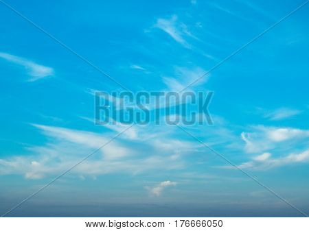 beautiful nature and blue sky with white clouds