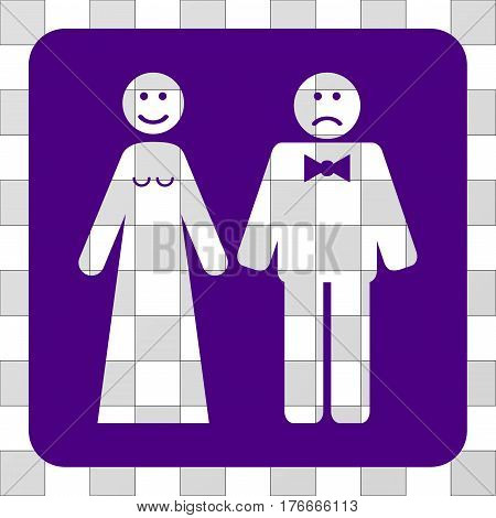 Wedding Emotions interface icon. Vector pictogram style is a flat symbol hole centered in a rounded square shape, indigo blue color.