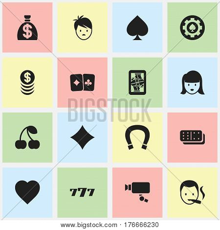 Set Of 16 Editable Game Icons. Includes Symbols Such As Love, Stacked Money, Moneybag And More. Can Be Used For Web, Mobile, UI And Infographic Design.