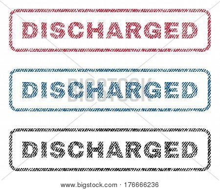 Discharged text textile seal stamp watermarks. Blue, red, black fabric vectorized texture. Vector caption inside rounded rectangular shape. Rubber sign with fiber textile structure.