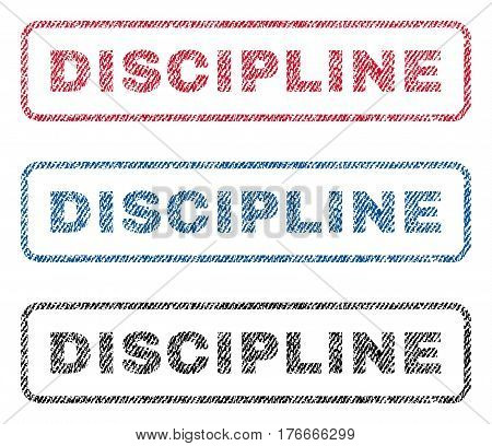 Discipline text textile seal stamp watermarks. Blue, red, black fabric vectorized texture. Vector tag inside rounded rectangular shape. Rubber emblem with fiber textile structure.