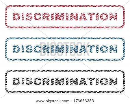 Discrimination text textile seal stamp watermarks. Blue, red, black fabric vectorized texture. Vector tag inside rounded rectangular shape. Rubber sticker with fiber textile structure.