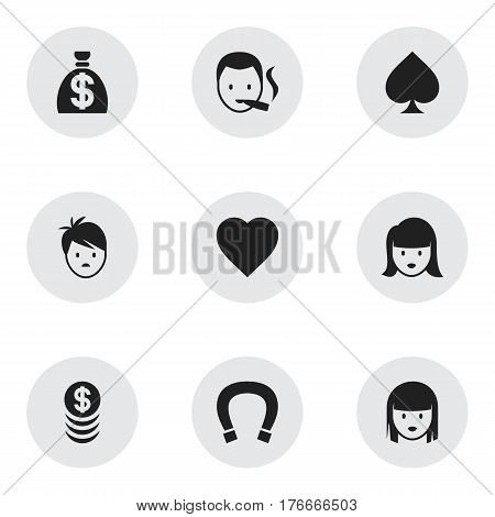 Set Of 9 Editable Gambling Icons. Includes Symbols Such As Smoker, Luck Charm, Stacked Money And More. Can Be Used For Web, Mobile, UI And Infographic Design.