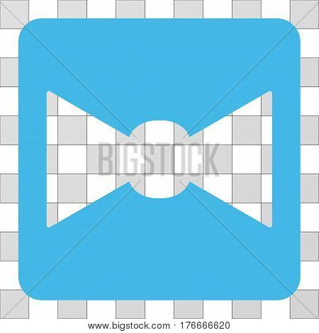 Bow Tie square icon. Vector pictogram style is a flat symbol hole in a rounded square shape, light blue color.