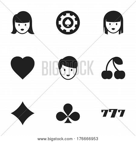 Set Of 9 Editable Casino Icons. Includes Symbols Such As Black Heart, Lucky Seven, Female Face And More. Can Be Used For Web, Mobile, UI And Infographic Design.