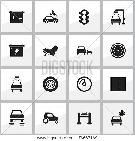 Set Of 16 Editable Traffic Icons. Includes Symbols Such As Stoplight, Vehicle Car, Speed Control And More. Can Be Used For Web, Mobile, UI And Infographic Design.