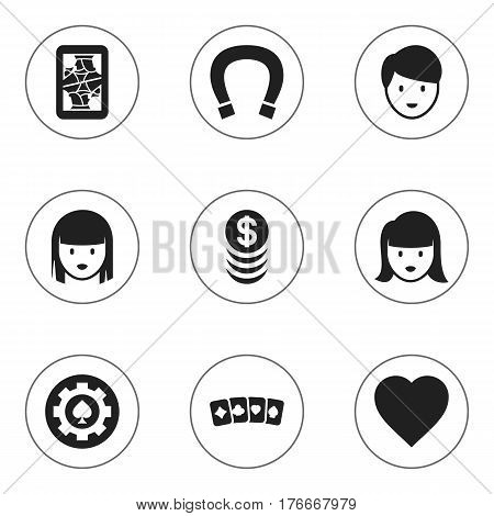 Set Of 9 Editable Gambling Icons. Includes Symbols Such As Black Heart, Stacked Money, Love And More. Can Be Used For Web, Mobile, UI And Infographic Design.