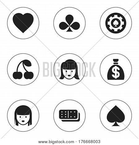 Set Of 9 Editable Game Icons. Includes Symbols Such As Moneybag, Love, Woman Face And More. Can Be Used For Web, Mobile, UI And Infographic Design.