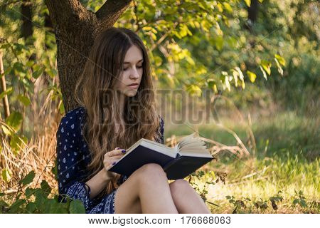 Girl sitting under a tree reading book in summer forest